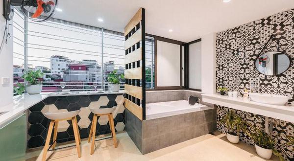 Phòng tắm sang trọng, cao cấp của Sazi Homestay
