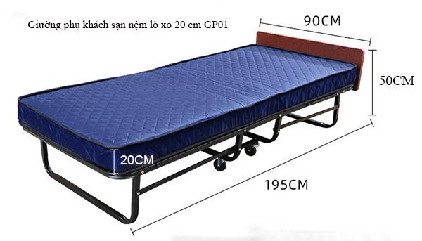 Kích thước giường phụ khách sạn nệm lò xo của Poliva