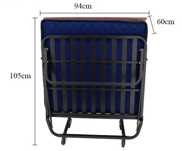 Kích thước giường phụ khách sạn nệm lò xo GP01 khi gập gọn
