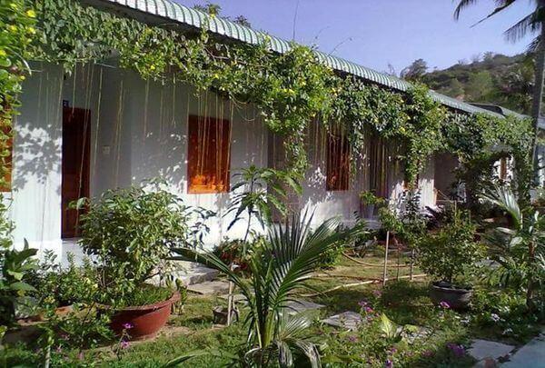 Khách sạn trồng rất nhiều cây xanh trước mặt tiền, tạo không gian xanh mát, hòa hợp với thiên nhiên
