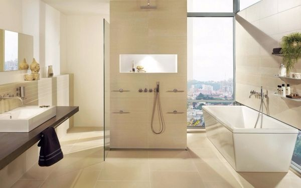 Bồn tắm và bồn rửa mặt với thiết kế đơn giản, hiện đại