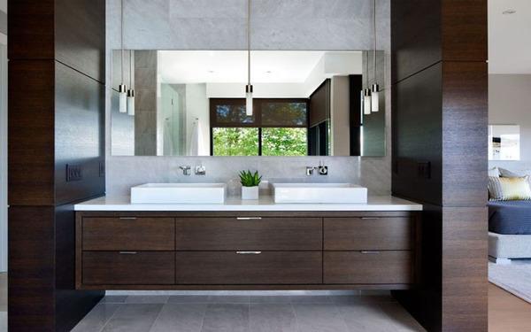Tủ kệ gỗ treo tường để chứa đồ trong phòng tắm