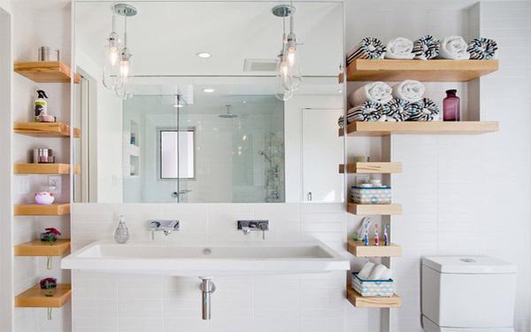 Thiết kế kệ đựng vật dụng phòng tắm tiết kiệm diện tích
