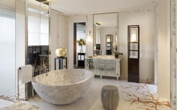 Thiêt kế nội thất phòng tắm sang trọng với chất liệu đá hoa cương