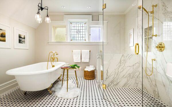 Thiết kế phòng tắm độc đáo với một vài nét chấm phá bằng vàng