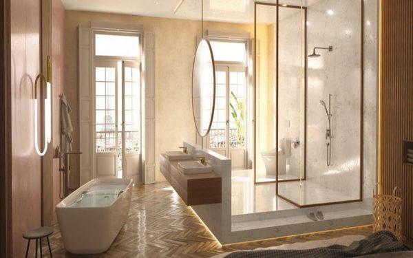 Thiết kế không gian phòng tắm tận dụng ánh sáng tự nhiện