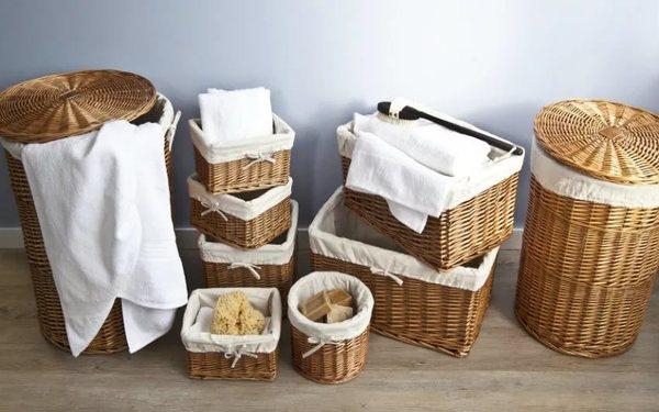 Giỏ đựng đồ phòng tắm được đan bằng mây, tre tiện lợi