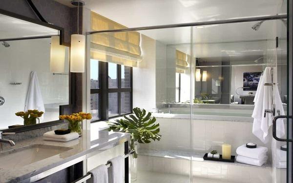 Trang bị kính cường lực tận dụng ánh sáng tự nhiên cho phòng tắm