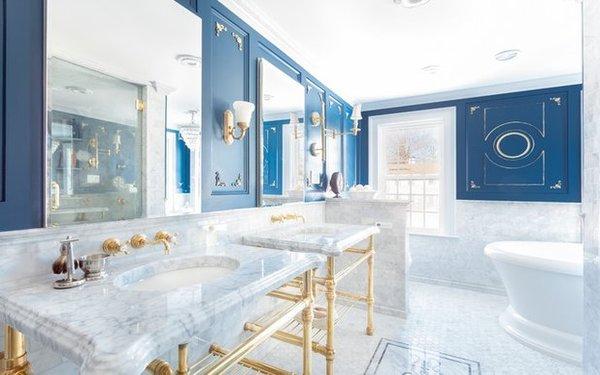 Thiết kế nội thất phòng tắm màu trắng toát lên vẻ đẹp sang trọng