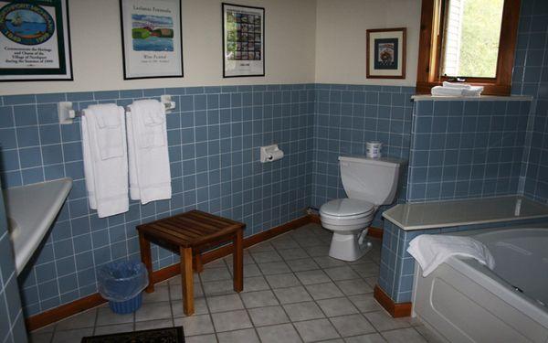 Các khung tranh trang trí góp phần làm cho phòng tắm thêm sinh động