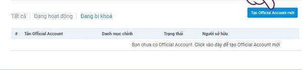 """Nhấp """"Tạo Official Account mới"""" để tiếp tục"""