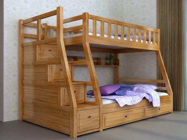 Giường tầng trong homestay được làm từ chất liệu gỗ
