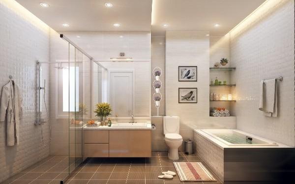 Trang trí phòng tắm khách sạn sinh động đầy đủ tiện nghi