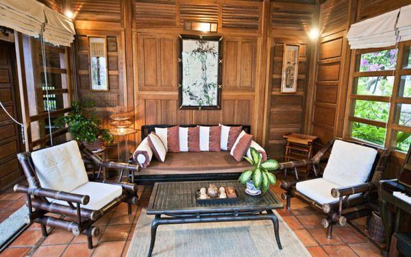 Bộ bàn ghế phòng khách đẹp mộc mạc với thiết kế bằng tre