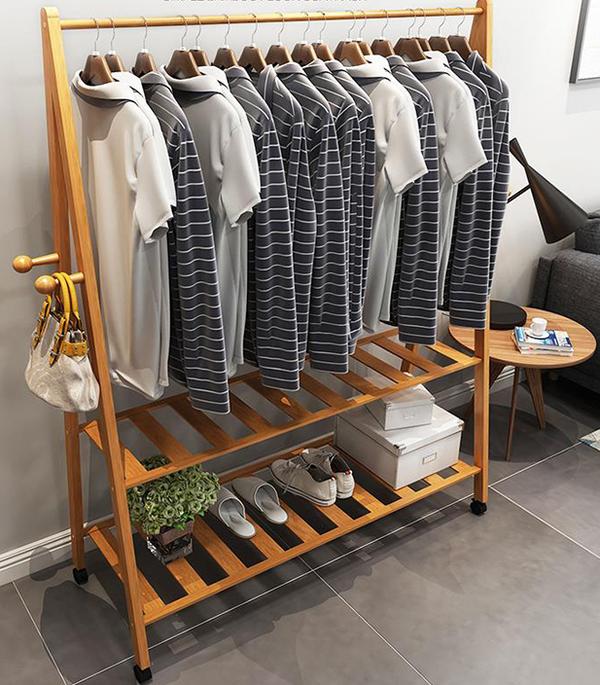 Cây treo quần áo ngang loại lớn bằng gỗ