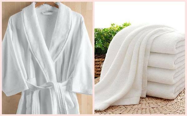 Bộ sản phẩm khăn và áo choàng được làm từ chất liệu cotton cao cấp