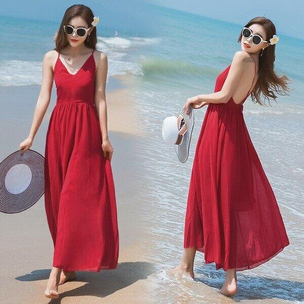 Váy maxi đi biển sành điệu