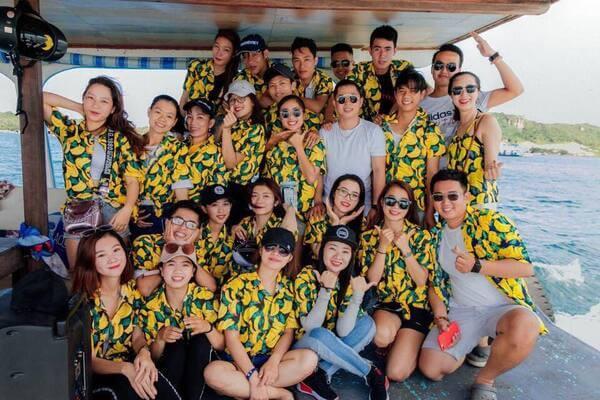 Áo nhóm đi biển Hawaii hoa quả cực chất