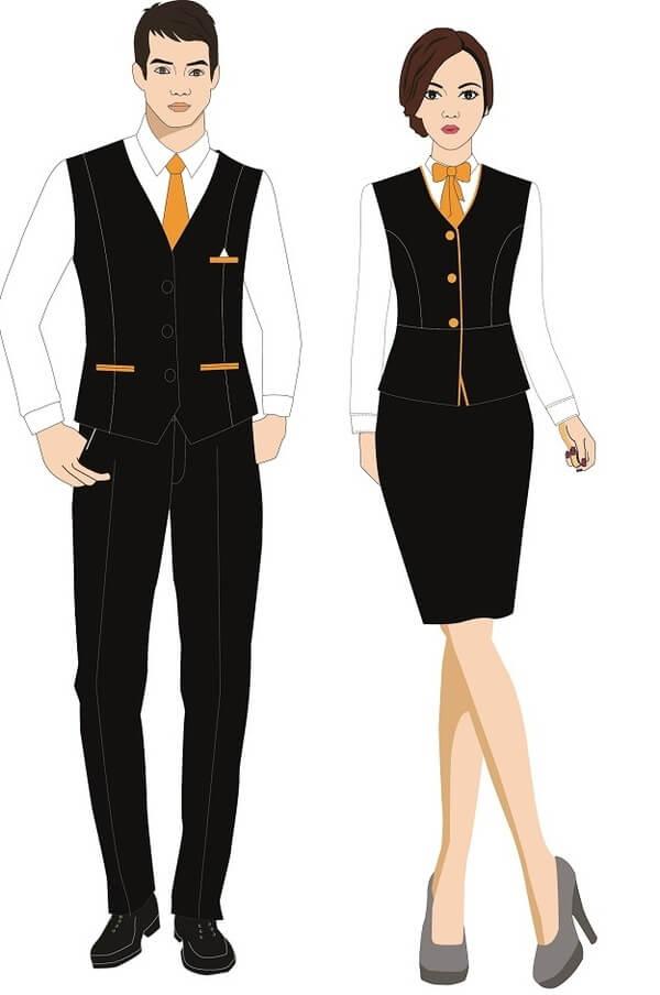 Mẫu thiết kế đồng phục lễ tân kiểu dáng gile năng động, lịch sự