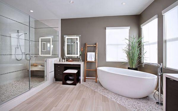 Phòng tắm được trang trí với các vật dụng đơn giản nhưng tinh tế