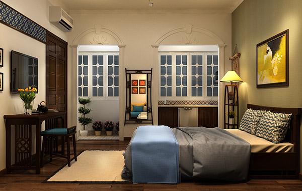 Phòng ngủ đôi ở homestay sang chảnh không khác khách sạn