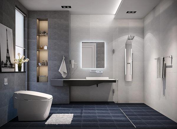 Phòng tắm với các món đồ nội thất thiết kế phong cách giản đơn làm gia tăng sự rộng rãi của không gian