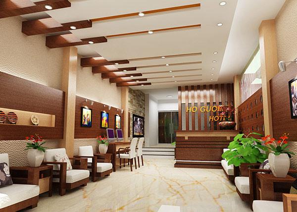 Với nhà nghỉ có diện tích lớn thì phần sảnh tiếp đón sẽ được trang hoàng đẹp và sang hơn