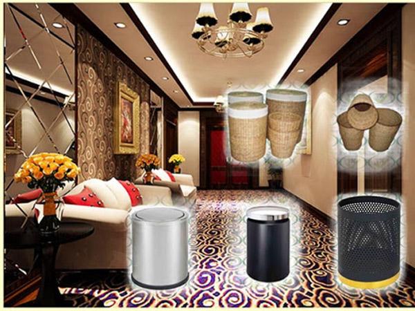 Thùng rác sử dụng trong khách sạn rất đa dạng về kiểu dáng, chất liệu