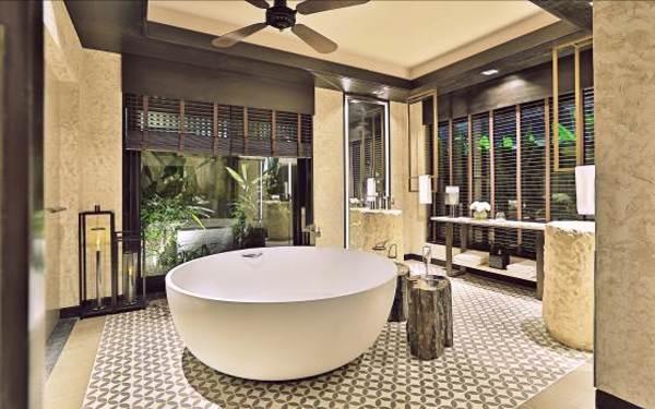 tiêu chuẩn thiết kế resort 4: Thiết bị phòng tắm được làm từ chất liệu cao cấp, bền bỉ
