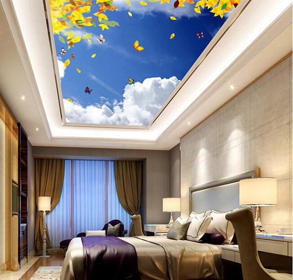 Phòng ngủ với thiết kế với trần thạch cao 3D mang khung cảnh bầu trời khiến ai ai ở trong không gian này cũng có cảm giác thư thái