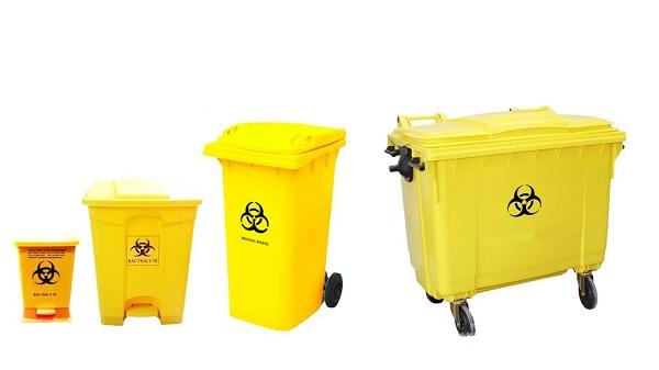 Loại thùng rác màu vàng với ký hiệu quen thuộc chuyên được sử dụng để đựng các loại rác thải sinh học, phóng xạ
