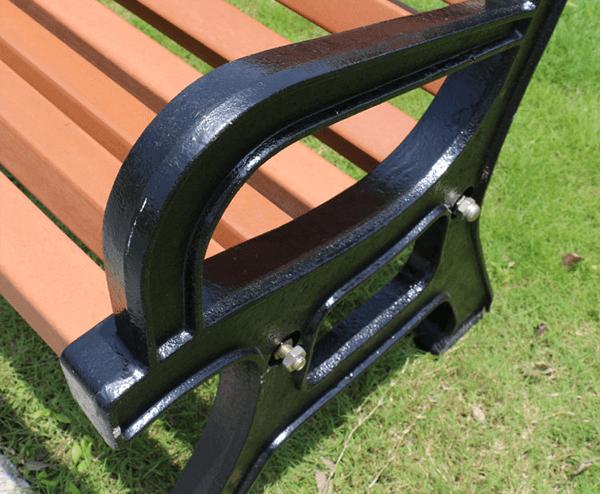 Ghế công viên bằng gỗ khung tay cầm gang đúc