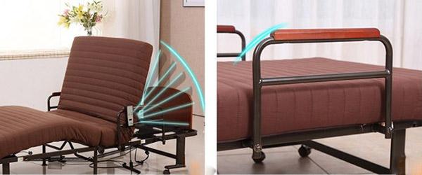 Phần đầu giường có thể nâng lên và hạ xuống dễ dàng