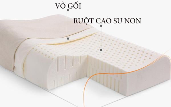 Thiết kế gồm 3 lớp: Vỏ gối, lớp vải lót có tác dụng ngăn ẩm và ruột gối