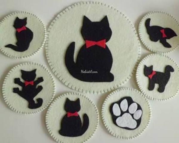 Lót ly hình chú mèo vô cùng đáng yêu, được thiết kế tỉ mỉ và khâu cẩn thận