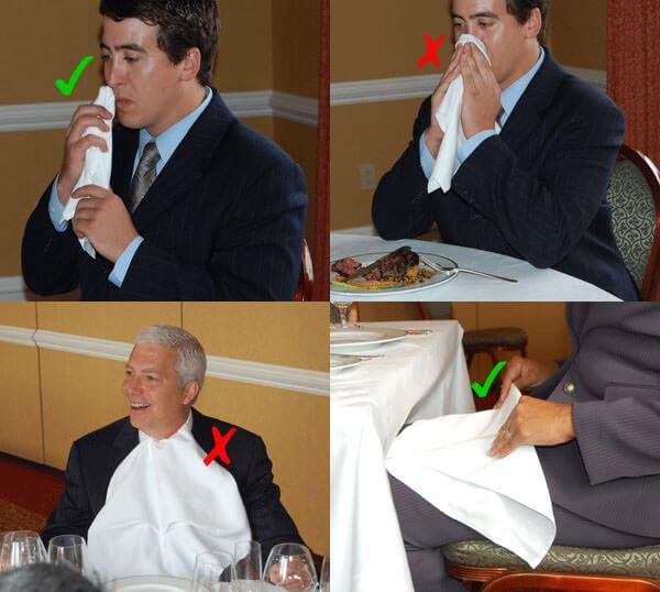 Quy tắc sử dụng khăn ăn đúng cách