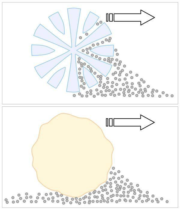Mặt cắt ngang của sợi Microfiber (phía trên) so sánh với sợi cotton