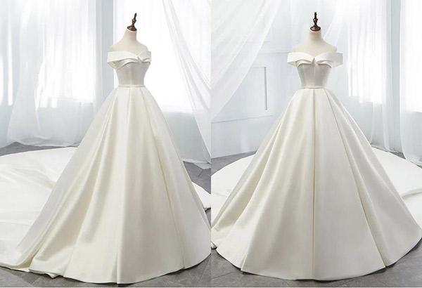 Váy cưới làm bằng chất vải satin