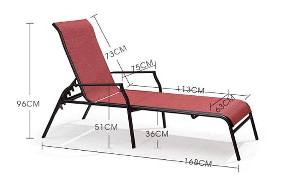 Chi tiết thông số kích thước ghế hồ bơi