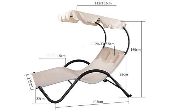 Ghế tắm nắng resort có mái che GBB03