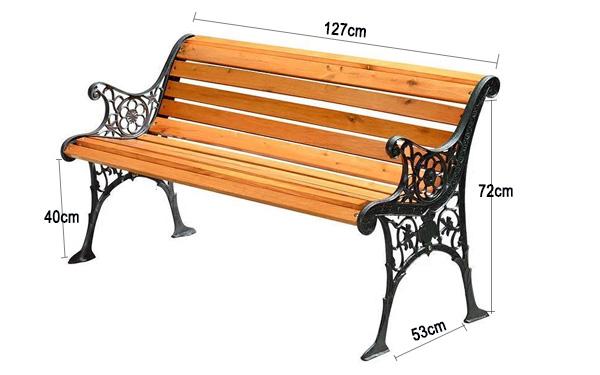 Mẫu ghế dài 127cm với tay vịn được thiết kế vô cùng bắt mắt