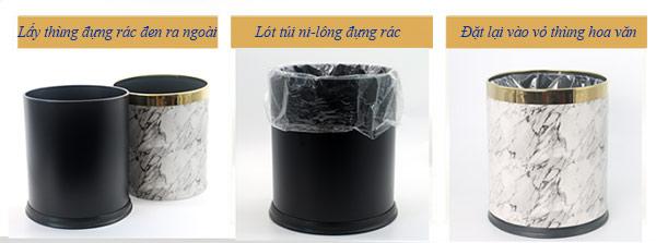Lồng thêm túi ni-lông giúp việc thu gom rác thuận lợi hơn