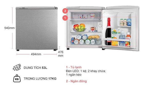 Tủ lạnh được chia thành các ngăn đông và ngăn mát tiện lợi