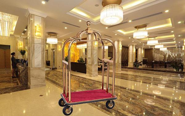Xe đẩy hành lý đa năng Inox mạ vàng
