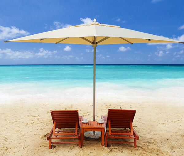 Ô dù chính tâm được sử dụng phổ biến trên bãi biển