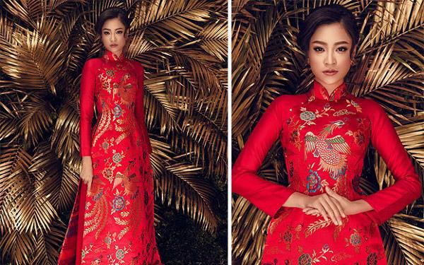 Áo dài đỏ bằng gấm được coi là trang phục cưới được nhiều cô dâu lựa chọn