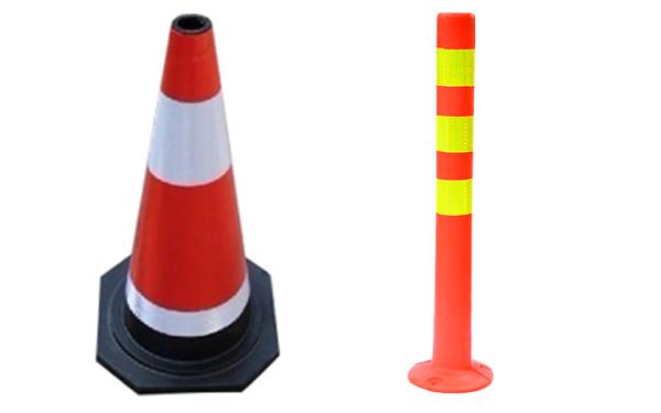 Cọc tiêu hình chóp nón và hình trụ được sử dụng phổ biến