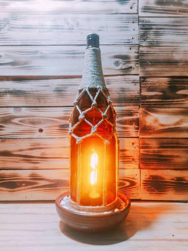 làm đèn ngủ bằng chai thủy tinh