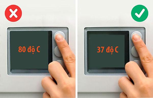 Nhiệt độ từ 30 - 45 độ là thích hợp nhất để giặt chăn gối lông vũ nhân tạo