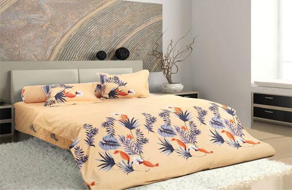Một mẫu chăn ga gối có màu sắc ấn tượng là điểm nổi bật cho căn phòng